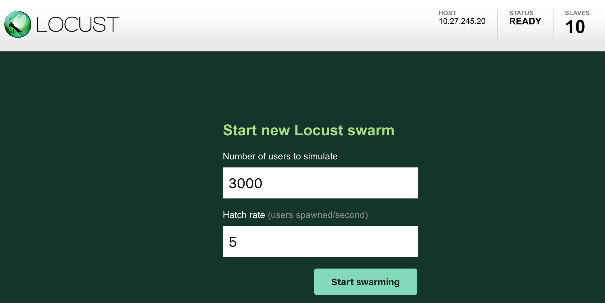 Inicia un nuevo generador de Locust.