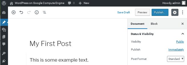 Publishing your first post.