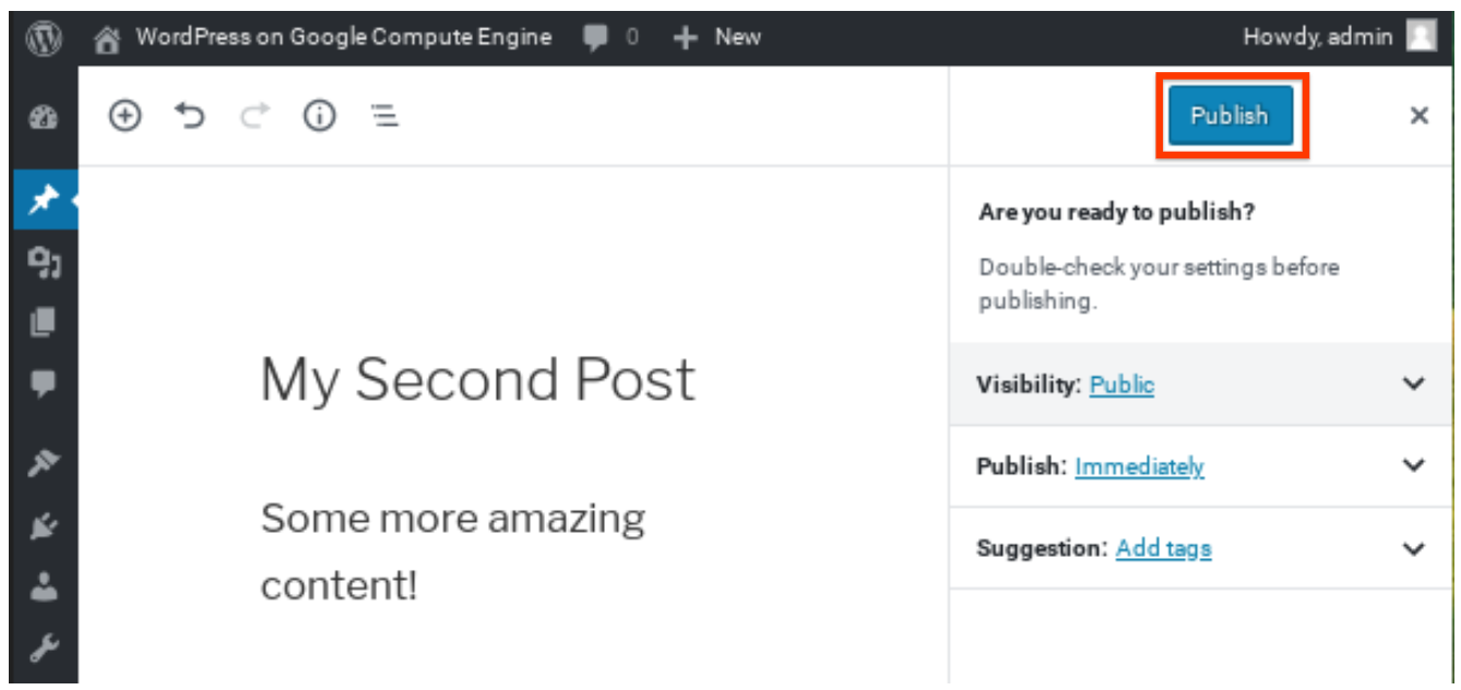 Publishing your second post.