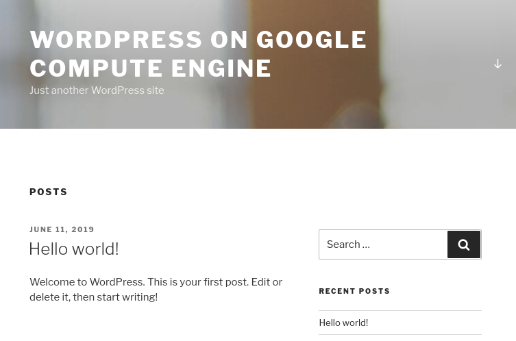 An example of the click-to-deploy WordPress homepage.