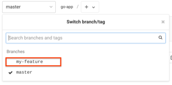 A search box lets you search for branches and tags.