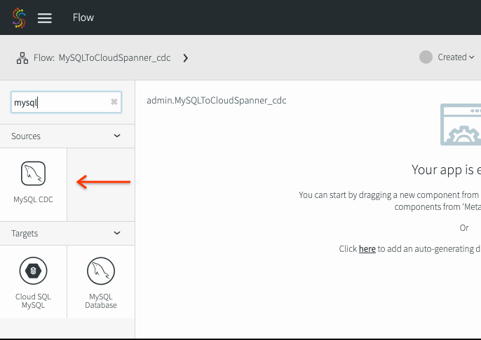Flow Designer page showing the MySQL CDC source.