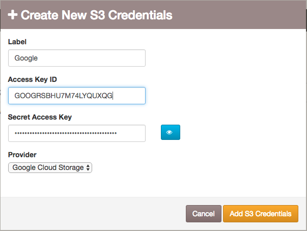 Create new S3 credentials for Cloud Storage.