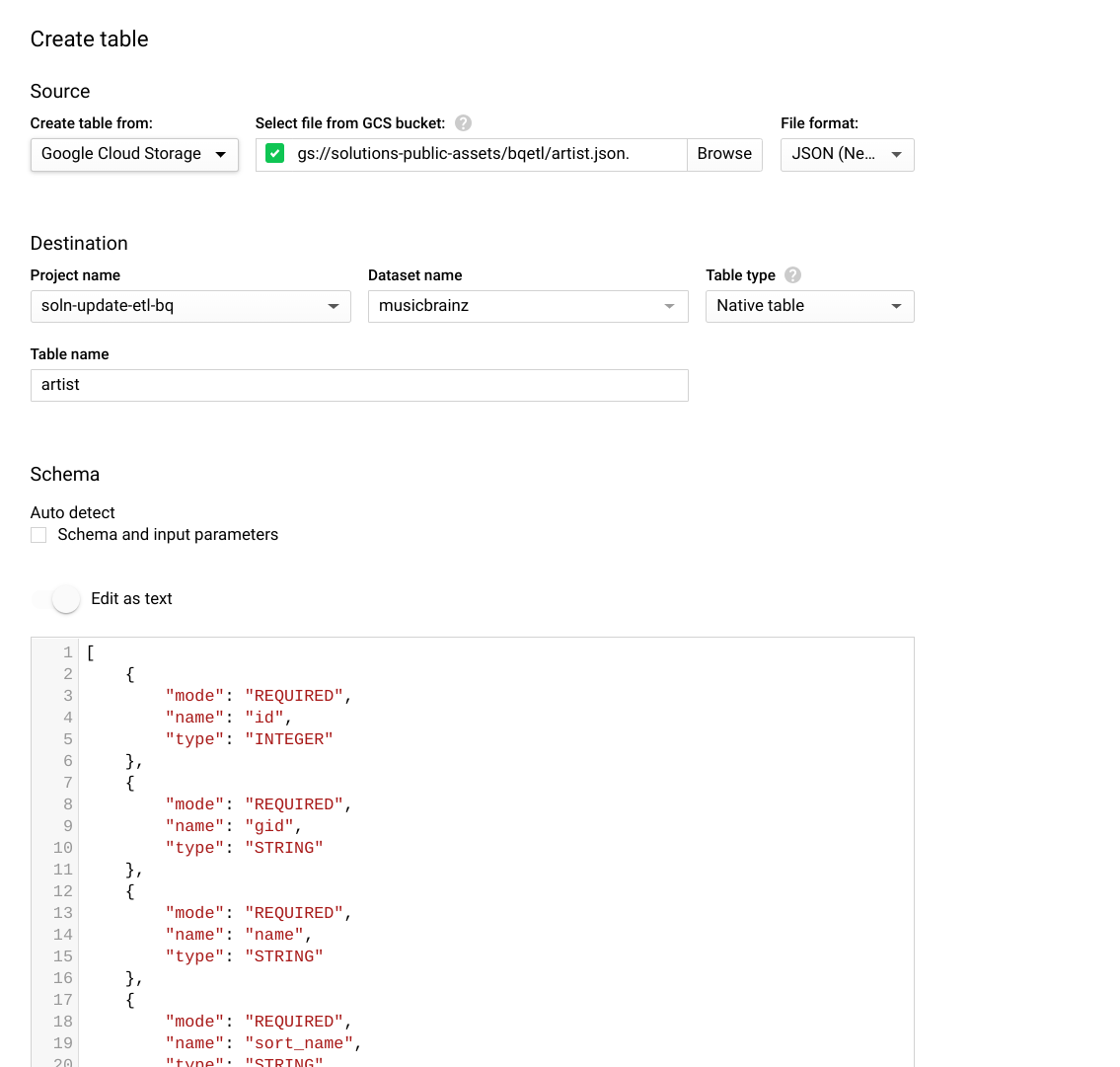 Create table dialog with updated schema from downloaded JSON file.