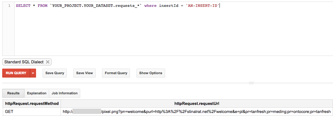 Google BigQuery shows all data for one log.