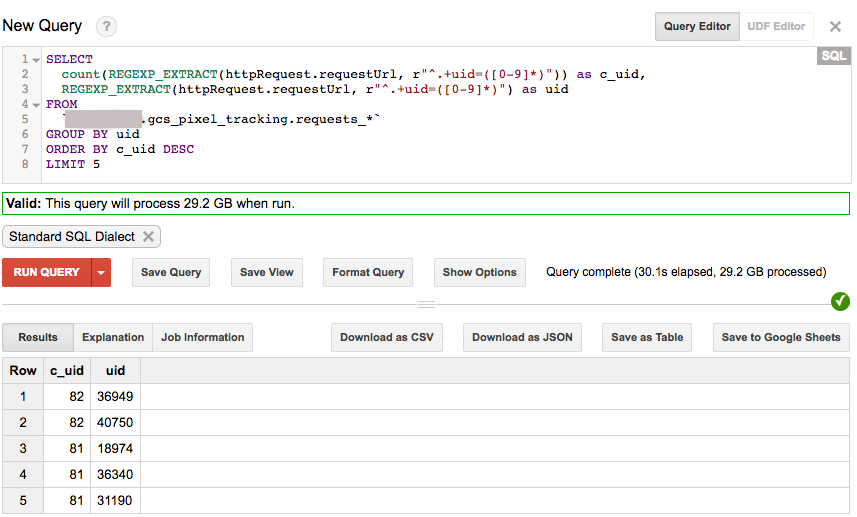 BigQuery shows results of pixel-tracking requests