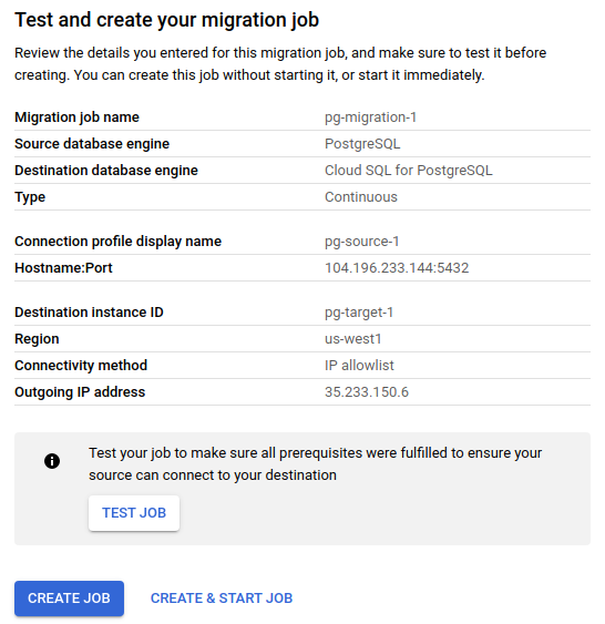 Review screen that contains migration-job details