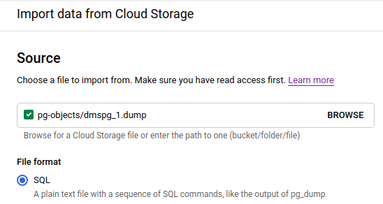 Import data from Cloud Storage
