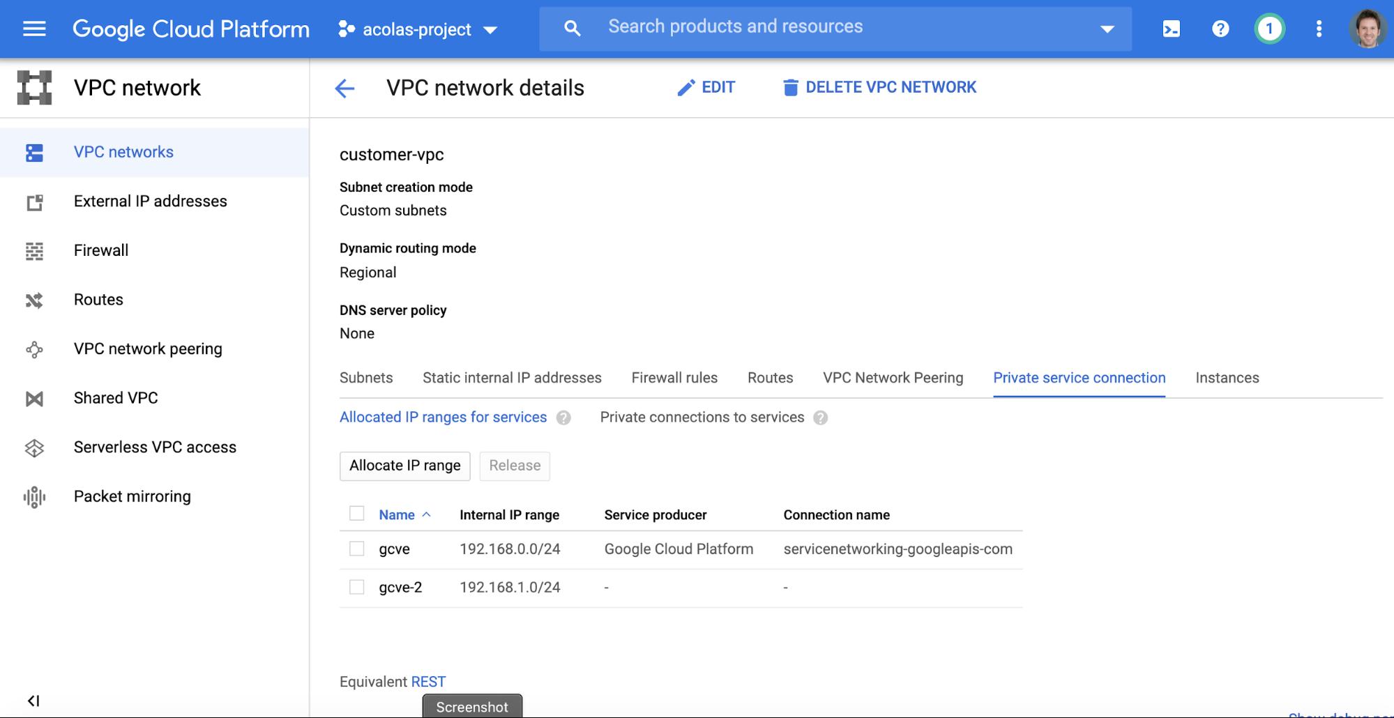 VMware Engine の CIDR ブロックがプライベート サービス接続に使用されています。