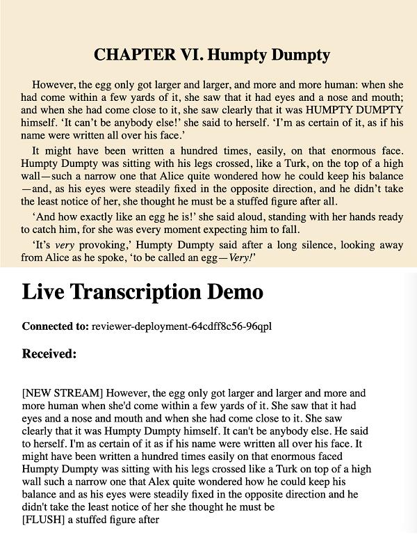 El texto original en la parte superior y una transcripción debajo.