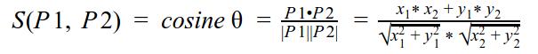 Fórmula de similitud coseno