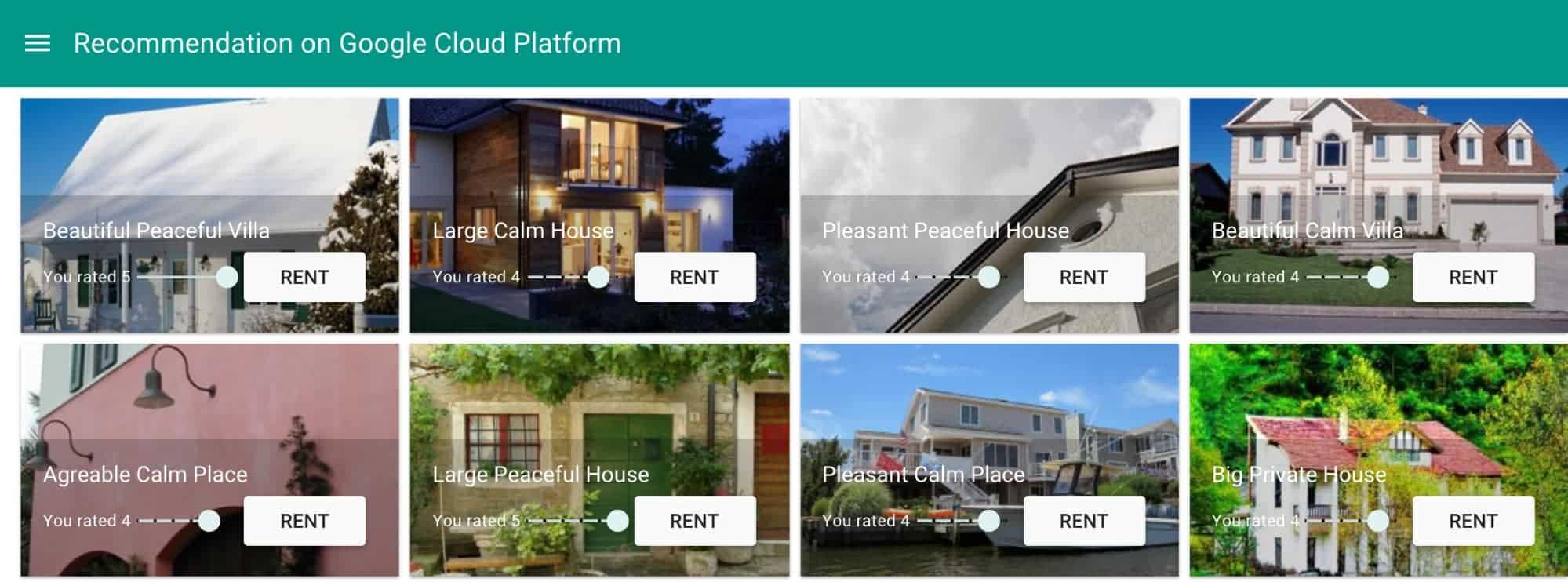 La interfaz de usuario permite alquilar propiedades de vacaciones