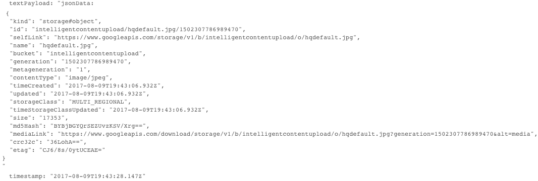 JSON payload of a Cloud Storage notification message