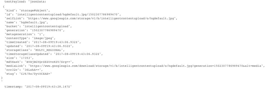 Carga útil deJSON de un mensaje de notificación de CloudStorage