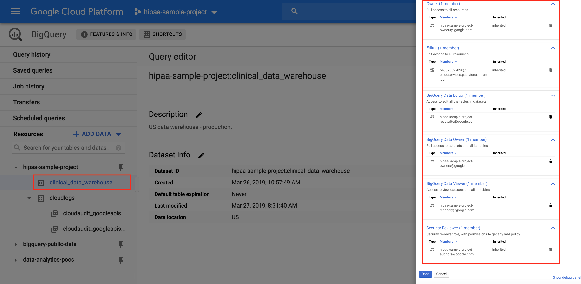 BigQuery data permissions for storing data