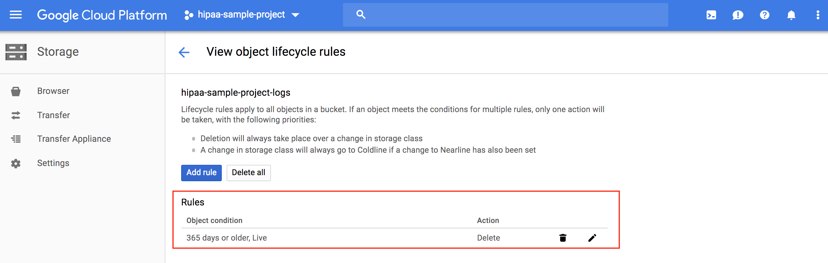Viewing the lifecycle policies