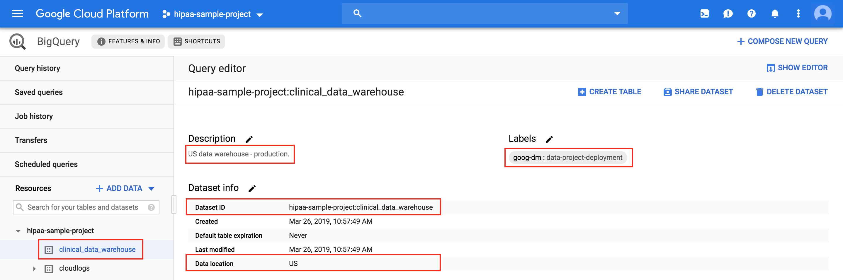 BigQuery는 새로 생성된 데이터 세트를 표시함
