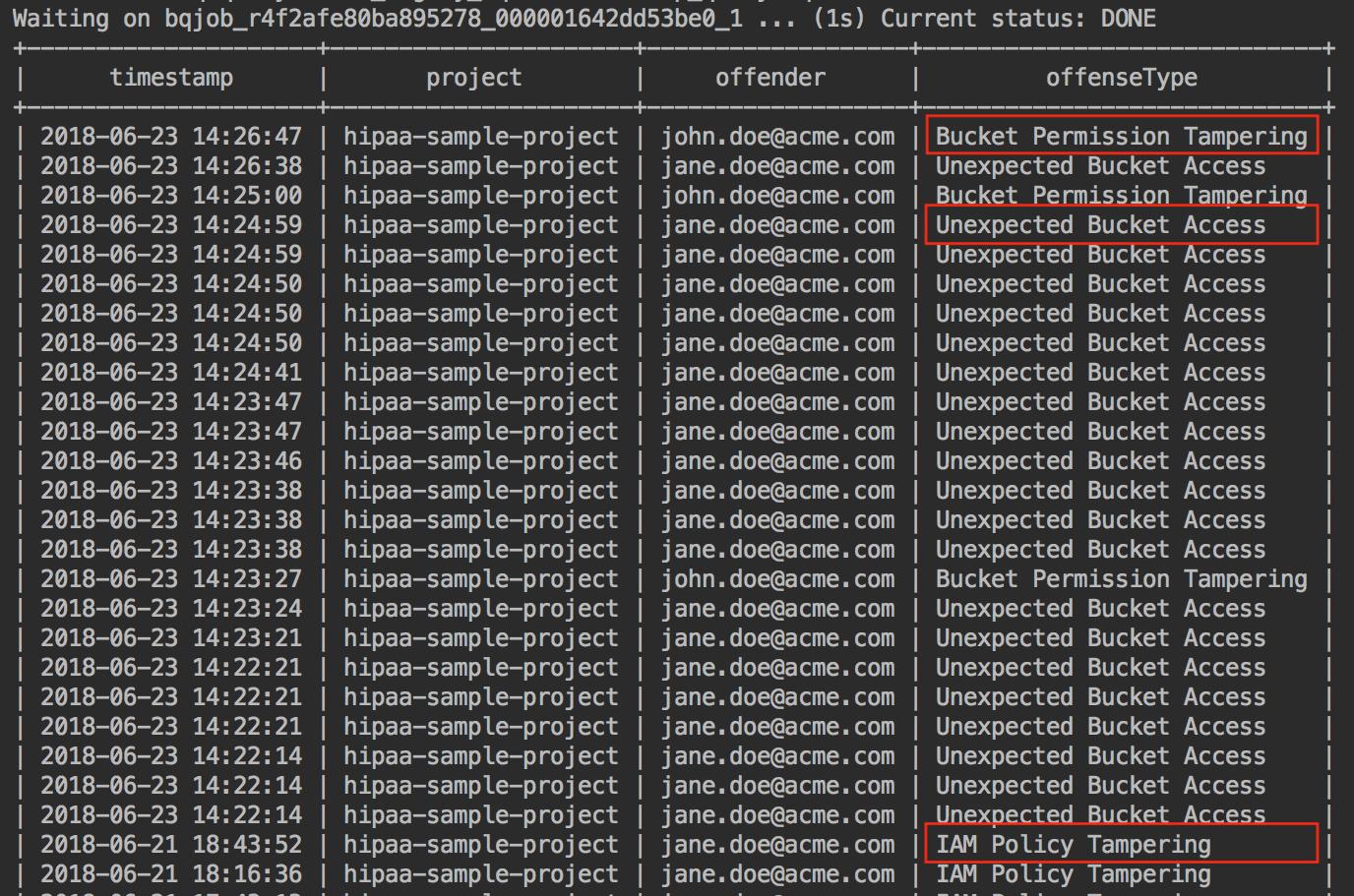 BigQuery 명령줄 인터페이스를 사용하여 쿼리를 실행할 경우 샘플 결과