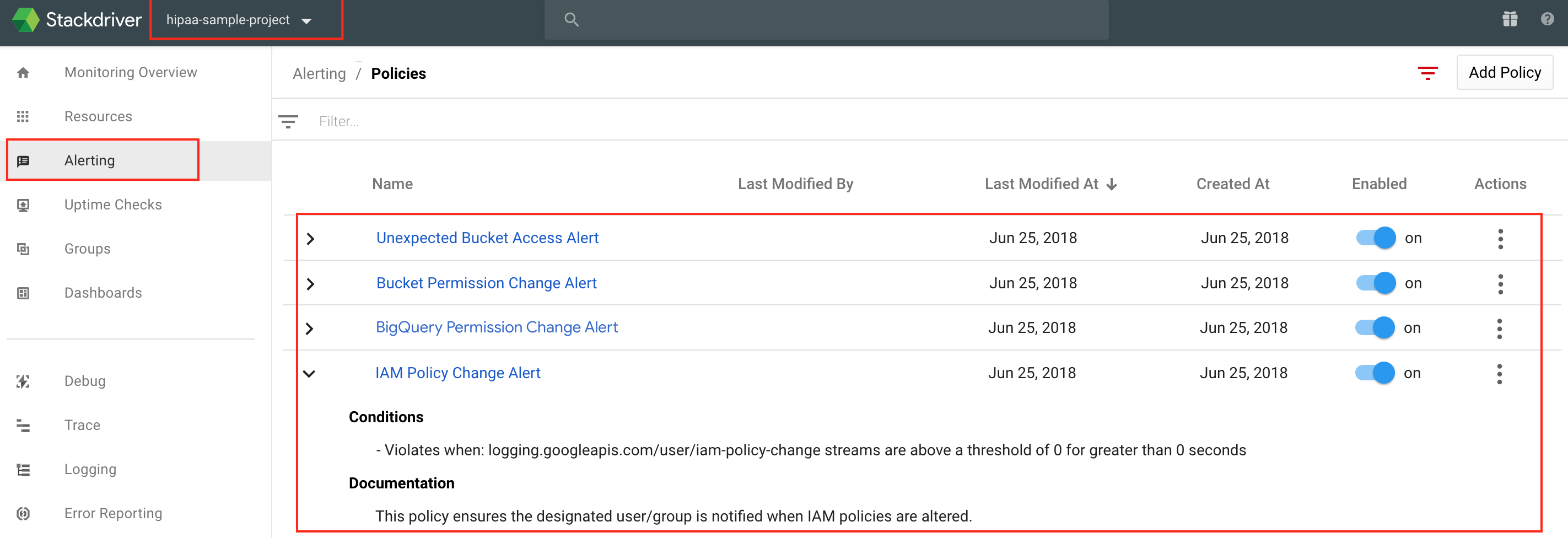 Monitoring shows alerting policies that trigger based on the corresponding logs-based metrics