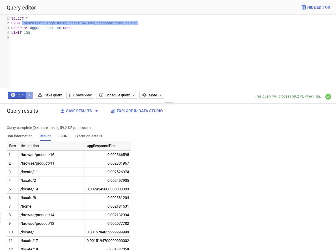 The BigQuery console runs a query against the log data.