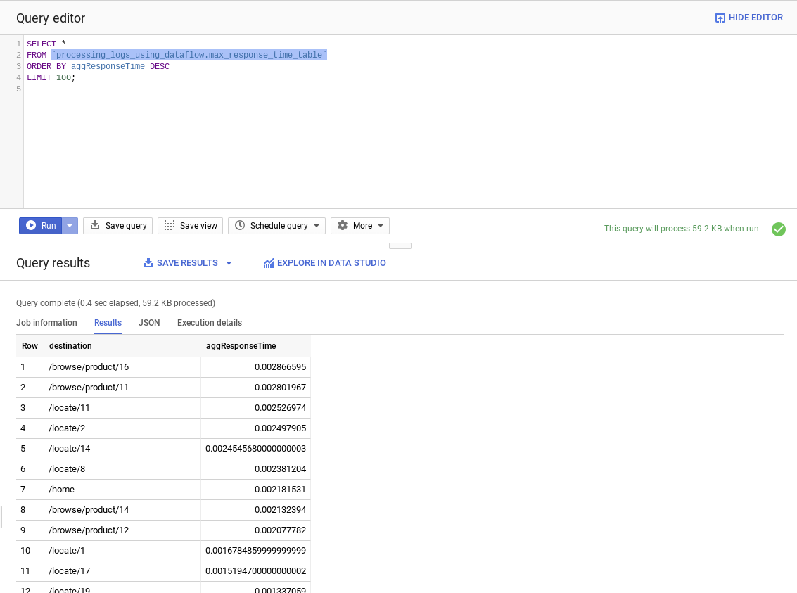 The BigQuery console runs a query against the log data.