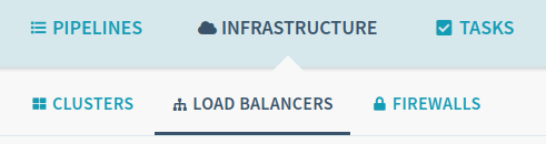 Infrastructure drop-down list with Load Balancers selected.