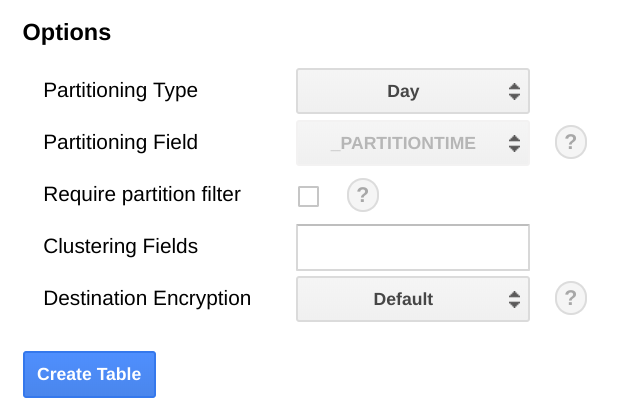Screenshot of partitioning in BigQuery