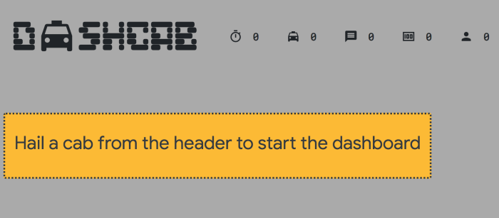 Dashboard created by code in this tutorial, with welcome message and before any data is displayed.