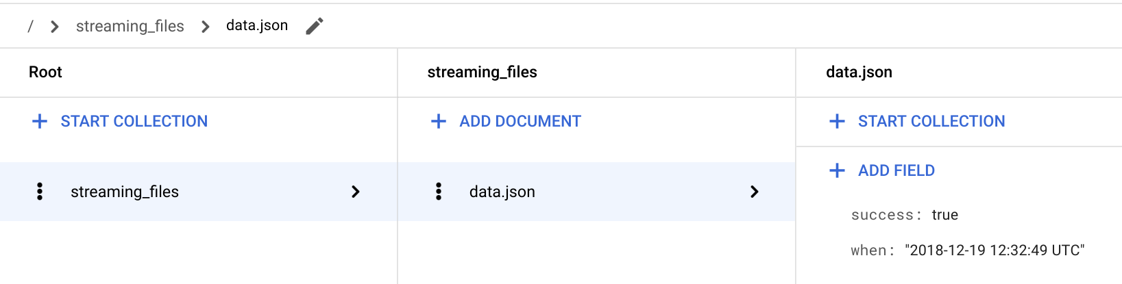 Verify the `streaming` function is storing the file's success status