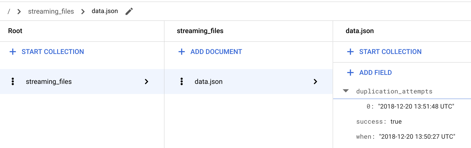 Verify the `streaming` function is storing the `duplication_attempts`