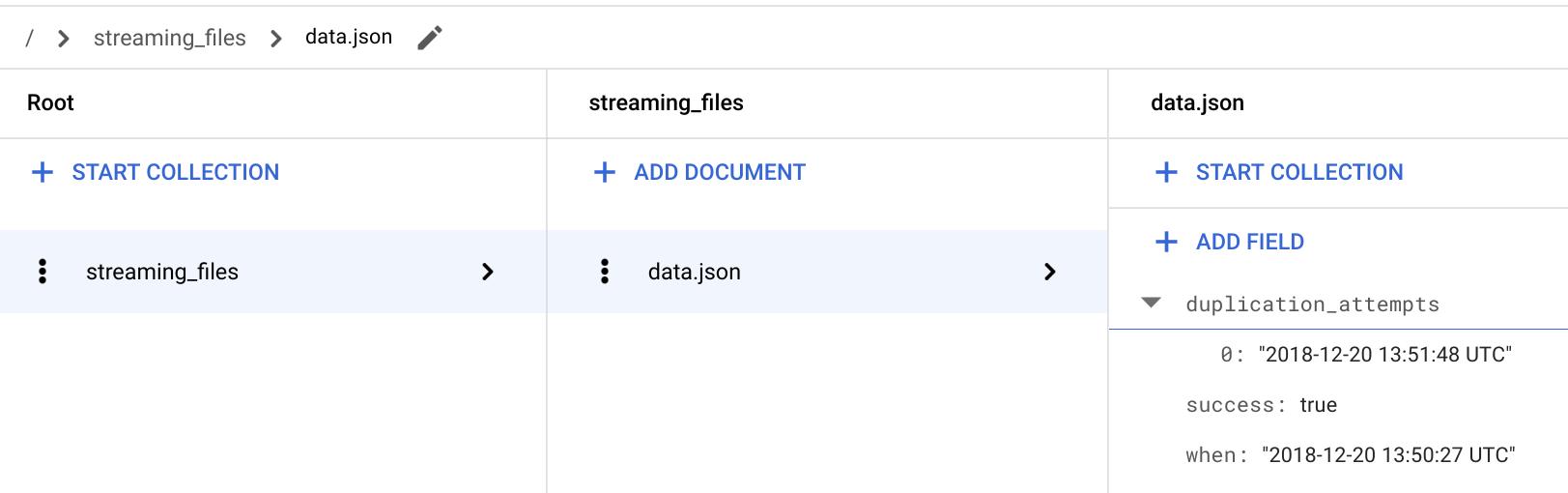 """Verifique se a função """"streaming"""" está armazenando """"duplication_attempts"""""""