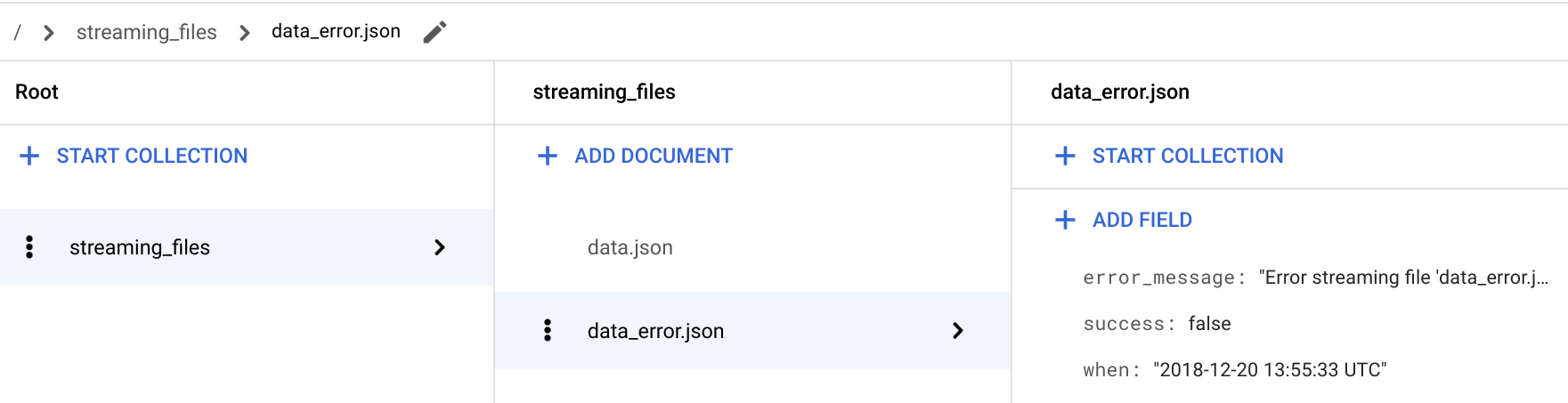 Verify the `streaming` function is storing the file's error status