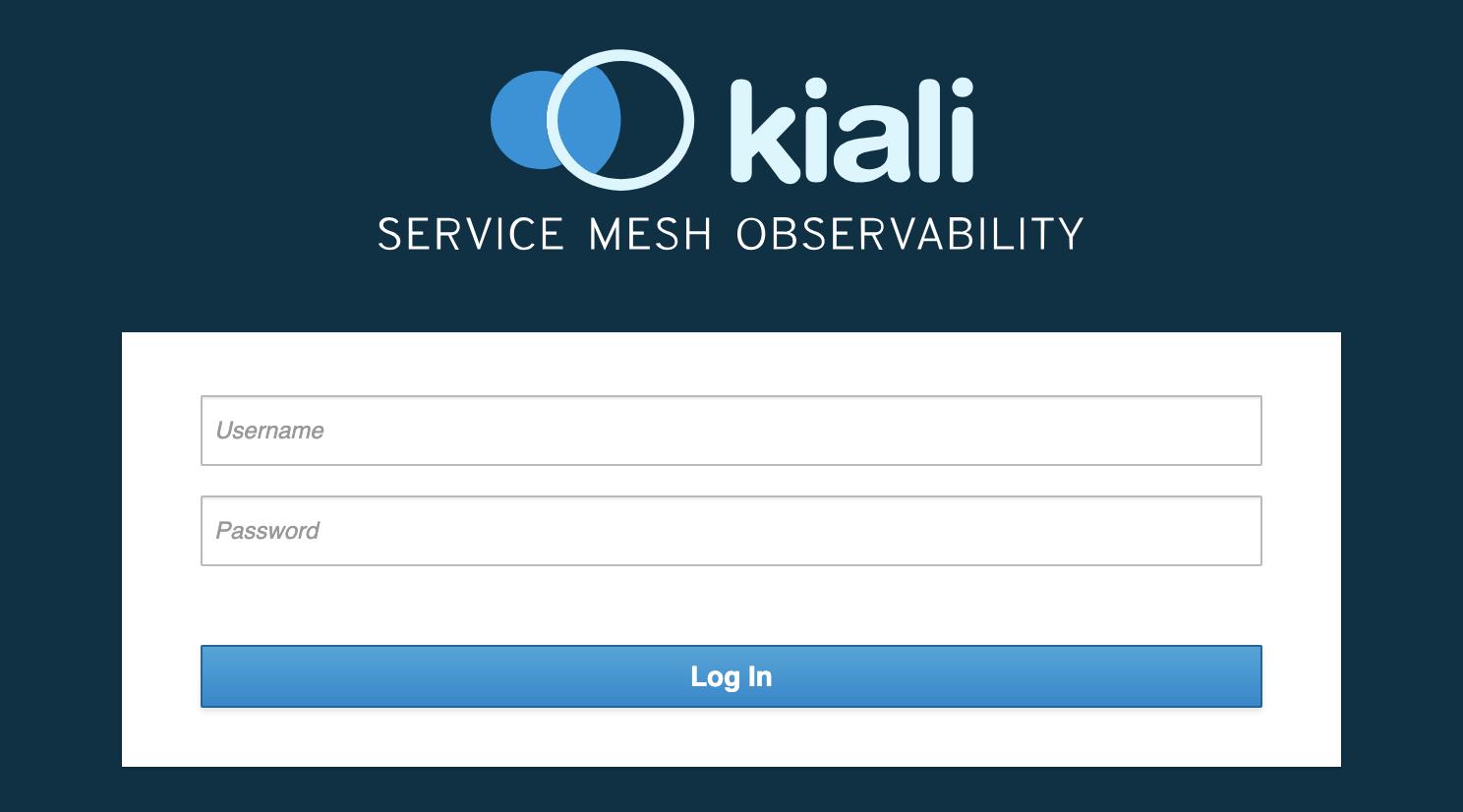 Pantalla de acceso de Kiali