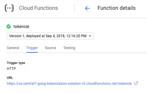 Copying the URL of your Cloud Function