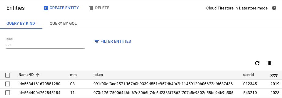 Successfully tokenized payment cards (cipher field not shown)