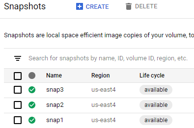 List of existing snapshots
