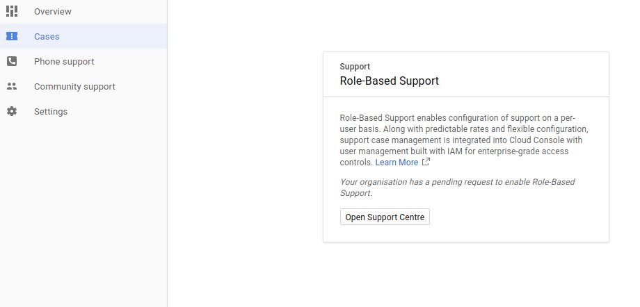 Open Support Center button