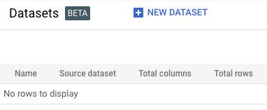 Página de conjuntos de dados do AutoML Tables