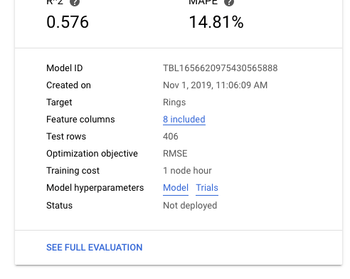 """Model details, showing """"Model"""" and """"Trials"""" links"""