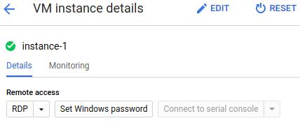 La página de detalles de la instancia de VM muestra los botones RDP y Contraseña