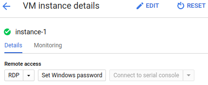 VM instance details page shows RDP and Password buttons