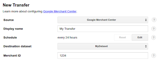 Google Merchant Center transfer