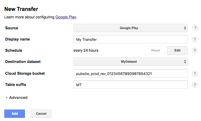Google Play transfer default schedule