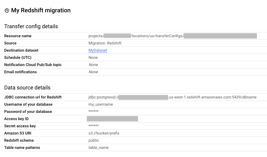 Migrating data from Amazon Redshift | BigQuery Data Transfer