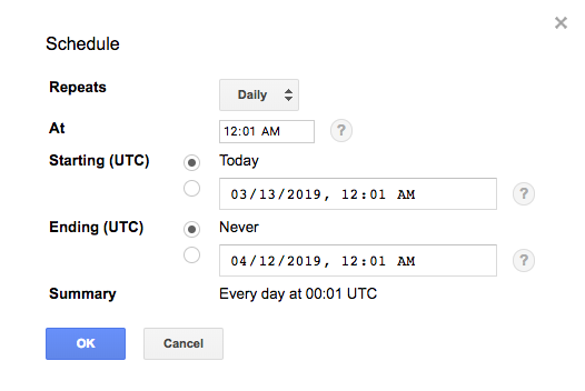 Query schedule