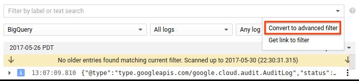 Screenshot of Logs Viewer - select advanced filter