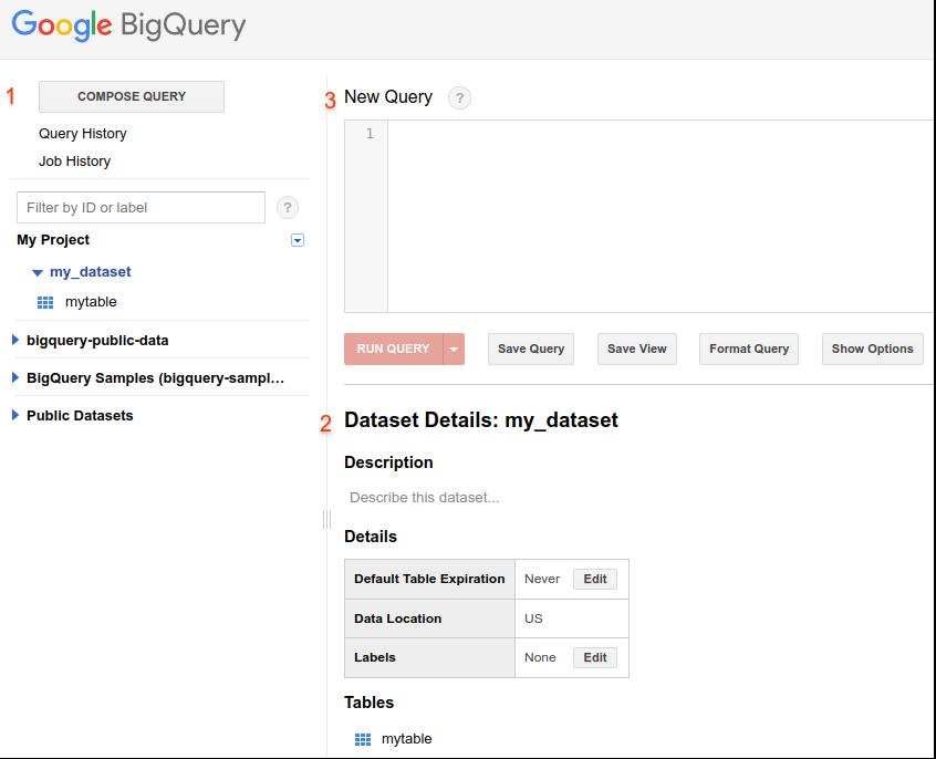 BigQuery ウェブ UI のスクリーンショット。