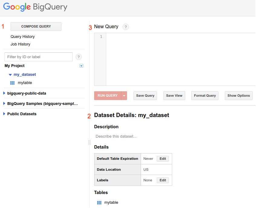 Captura de tela da IU da Web do BigQuery