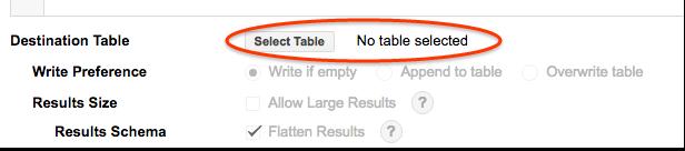 Screenshot of BigQuery web UI showing no destination table selected