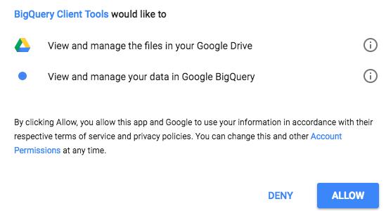 クライアント ツールのアクセス ダイアログ